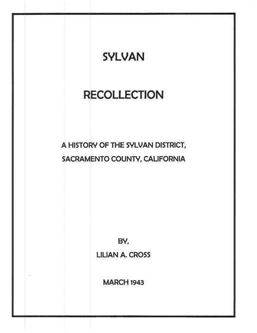 Cover page for Sylvan Recollection by Lilian A Cross